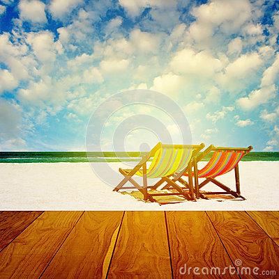 Free Beach Chairs With Summer Time Royalty Free Stock Photography - 40034607