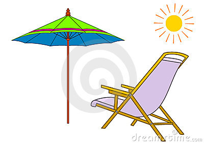 Beach chaise lounge and umbrella