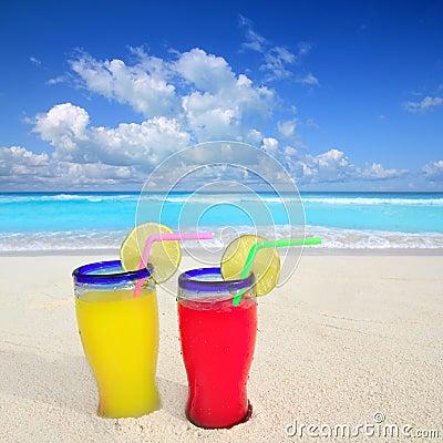 Beach cocktails in caribbean tropical sea