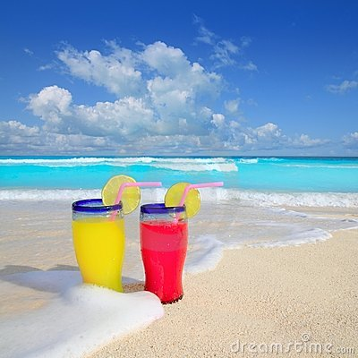 Beach cocktails yellow red wave foam tropical sea