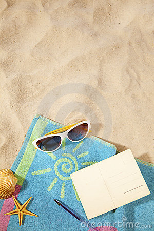 Beach concept with postcard