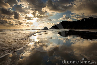 Beach in Costa Rica with perfect reflection