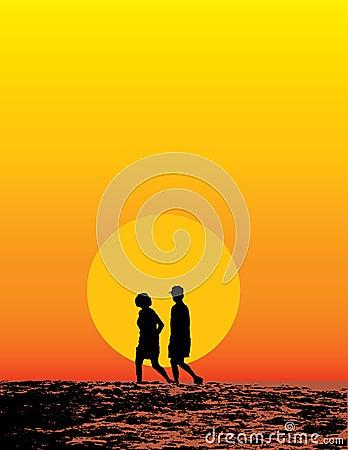 Beach Couple At Sunset