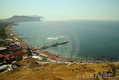 Beach of Crimea. Coast of Black seas