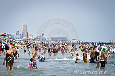 Beach Crowds Jersey Shore Editorial Photo
