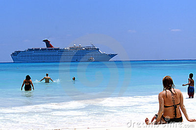 Beach and Cruise Ship