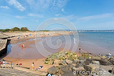 Beach at Dawlish Warren Devon England on blue sky summer day Editorial Stock Image