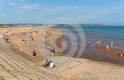 Beach at Dawlish Warren Devon England on blue sky summer day Editorial Image