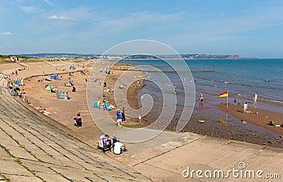 Beach at Dawlish Warren Devon England on blue sky summer day Editorial Image