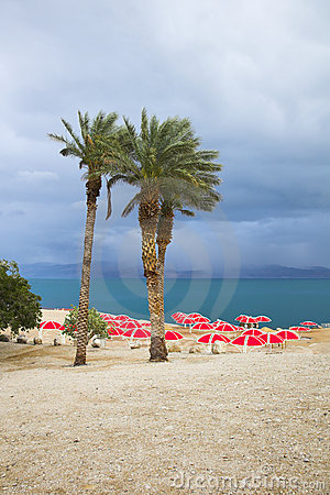 The beach of the Dead Sea in thunder-storm