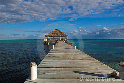 Beach Deck with Palapa Editorial Stock Photo