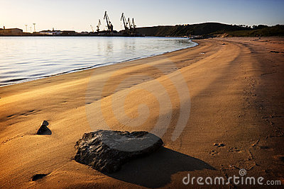 Beach and derricks