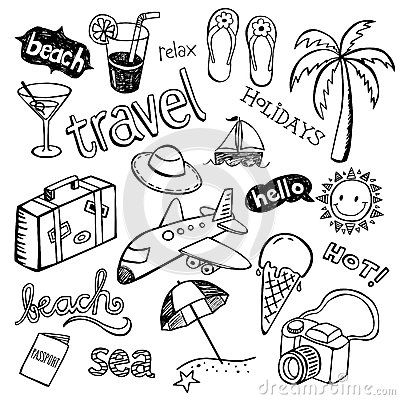 Free Beach Doodles Royalty Free Stock Photos - 41809928