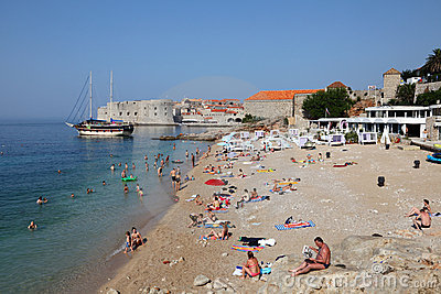 Beach in Dubrovnik, Croatia Editorial Stock Photo