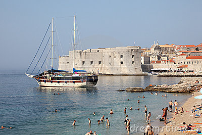 Beach in Dubrovnik, Croatia Editorial Image