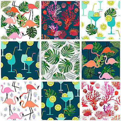 Free Beach Fashion Set. Seamless Vector Patterns With Tropical Motifs. Royalty Free Stock Photo - 88892445
