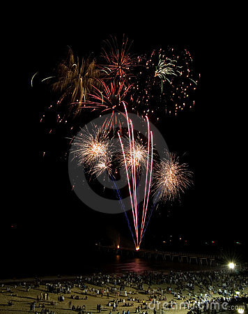 Free Beach Fireworks Royalty Free Stock Images - 5068019