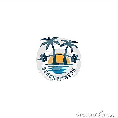 Beach fitness logo Cartoon Illustration