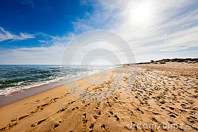 Beach with footprints