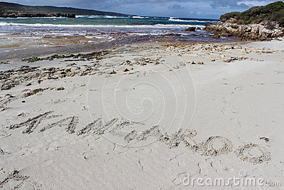 Beach with footsteps