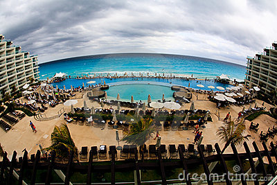 The beach front at a luxury beach resort in Cancun