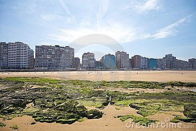 Beach of Gijon city