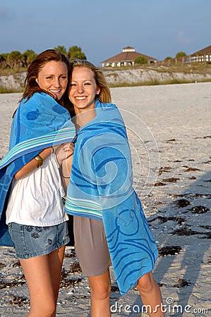 Free Beach Girls In Towel  Stock Image - 5131911