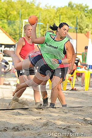 Beach handball action Editorial Photo