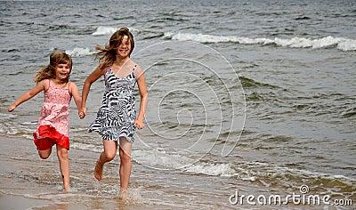Beach happy runners