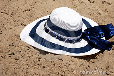 The Beach Hat In Sand Royalty Free Stock Photography - Image: 12662837