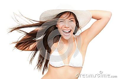 Beach holiday fun bikini young woman on white