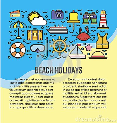 Free Beach Holidays Information List Vector Illustration. Summer Attribute Icons Stock Images - 88753684