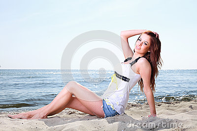 Beach holidays woman enjoying summer sun sand looking happy