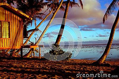 Beach hut sunset