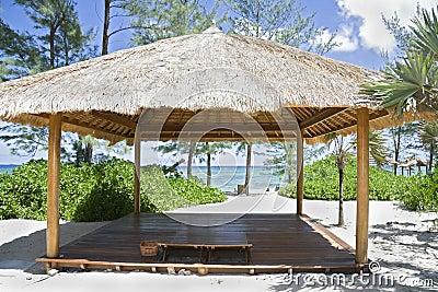 Beach hut on tropical island