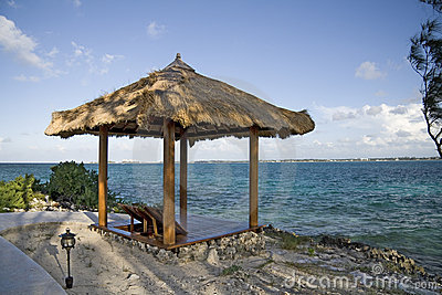 Beach hut on tropical island