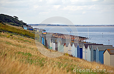 Beach huts by coast
