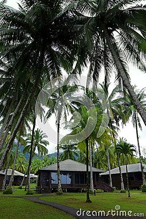 Beach huts in holidays resort, Malaysia