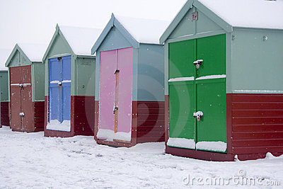 Beach huts in snow
