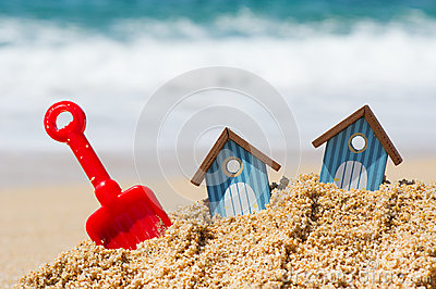 Beach huts and toys