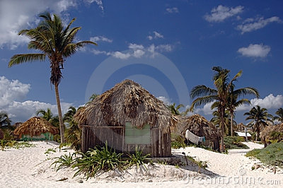 Beach huts in Tulum, Mex.