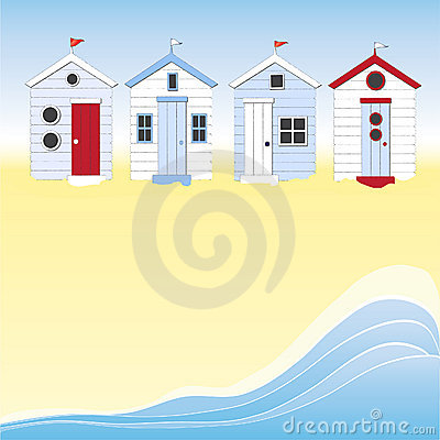 Beach huts with water