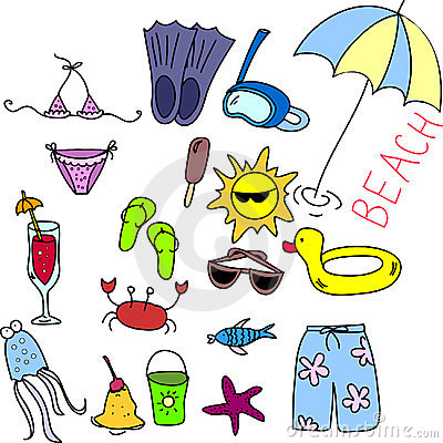 Beach icon set, children drawing, vector