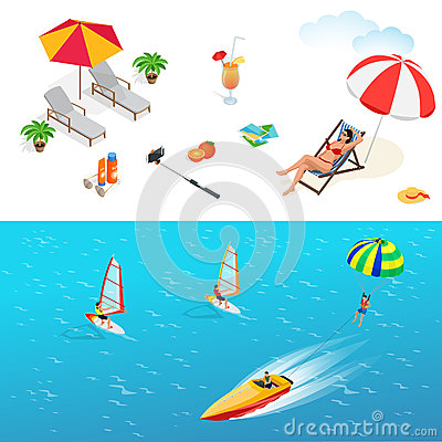 Free Beach Icon Set. Girl In A Swimsuit On A Deck Chair Royalty Free Stock Image - 72980296