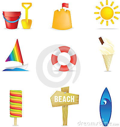 Free Beach Icons Royalty Free Stock Image - 9043406