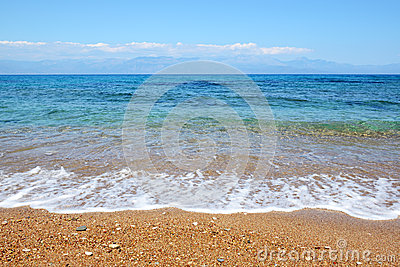 The beach on Ionian Sea at luxury hotel