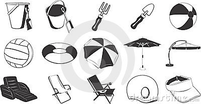 Beach items illustrations