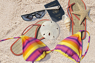 Beach items and passport