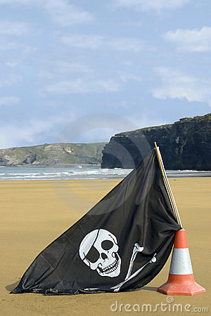 Beach with jolly roger flag