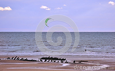 Beach kite surfer